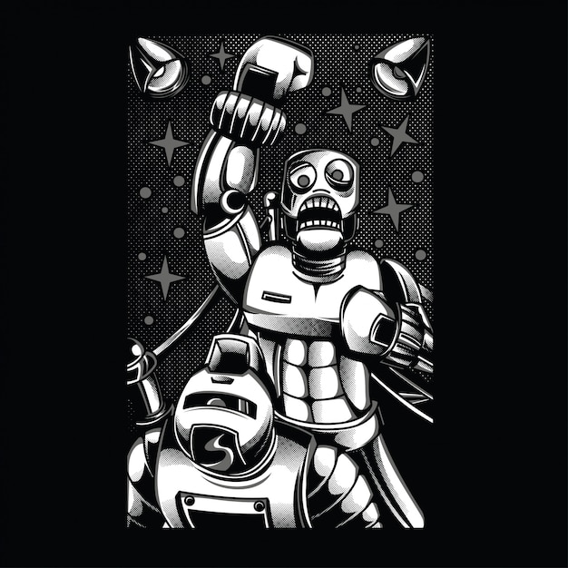 Retro robot fighting black and white illustration Premium Vector