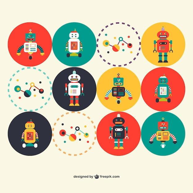 retro robots science set vector free download