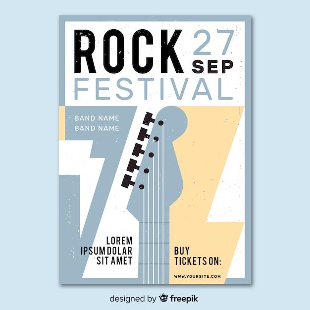 Modello di poster retrò festival di musica rock Vettore gratuito