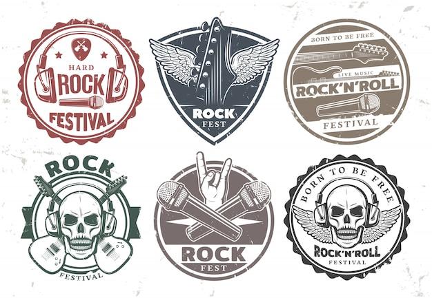 Set di francobolli di musica rock retrò Vettore gratuito