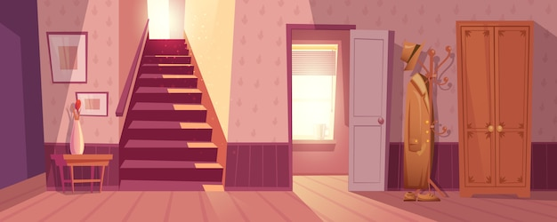 Retro room interior vector illustration Free Vector