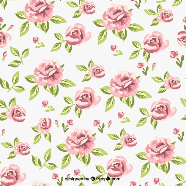 Retro roses pattern Free Vector
