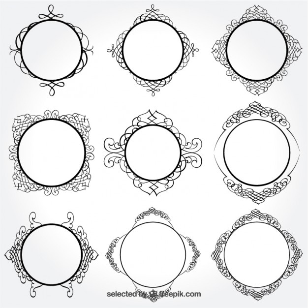 Retro round frames Vector | Free Download