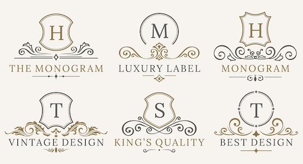 Retro royal vintage shields logotype set Premium Vector