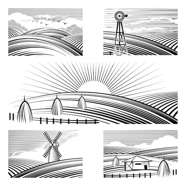 Ретро сельские пейзажи. набор в сельских пейзажах окрашены черными линиями. Бесплатные векторы