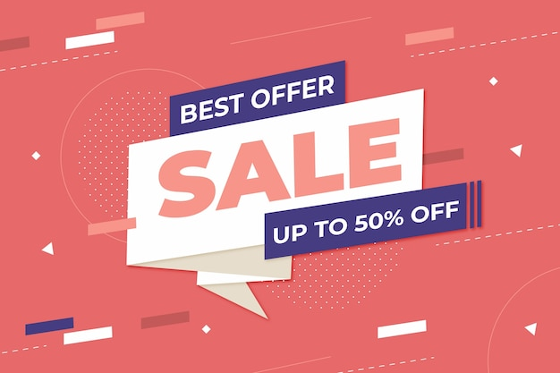 Retro sale banner with memphis effect in paper style Free Vector