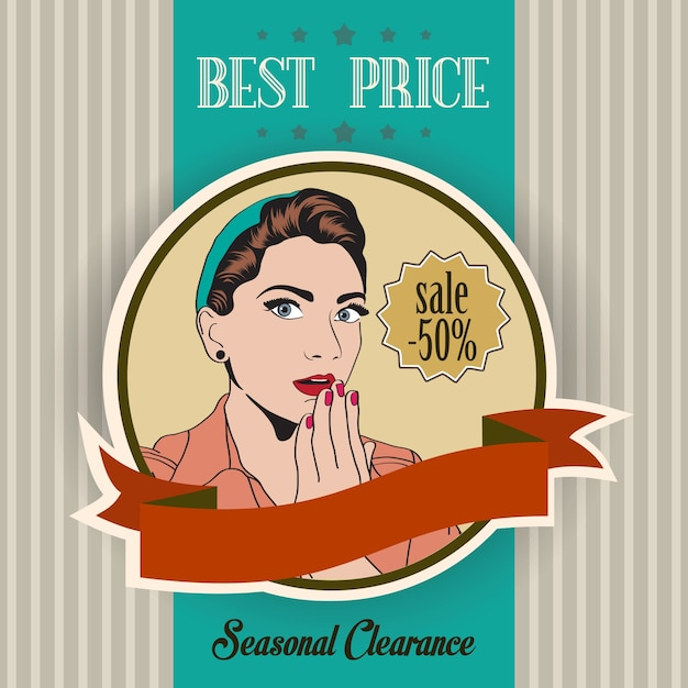 Retro sale banner with woman Free Vector
