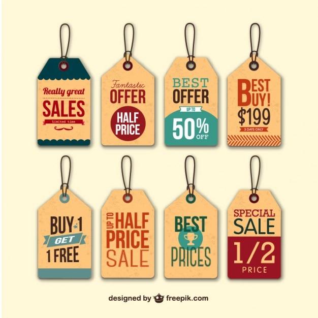 Retro sale hang tags Free Vector