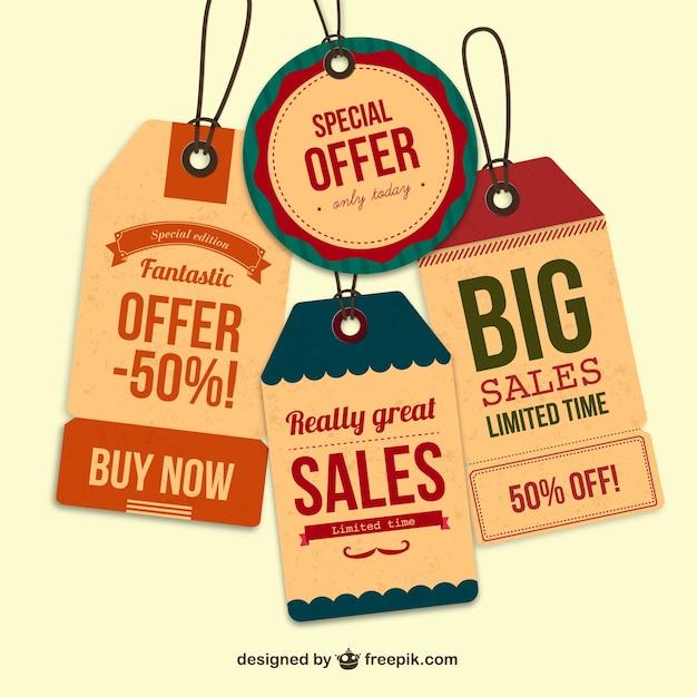 retro sales tags vector free download
