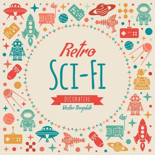 Retro sci-fi decorating design Premium Vector