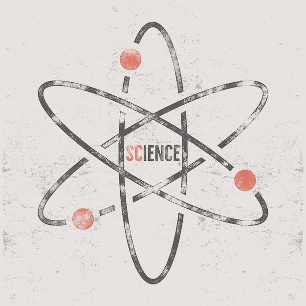Retro science design with molecule structure Premium Vector