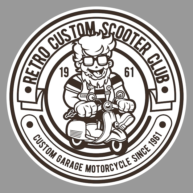 Retro scooter club badge logo Premium Vector