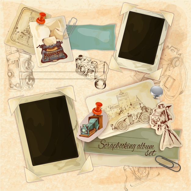 Retro scrapbooking set Free Vector