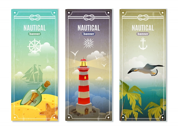 Retro sea nautical vertical banners Free Vector