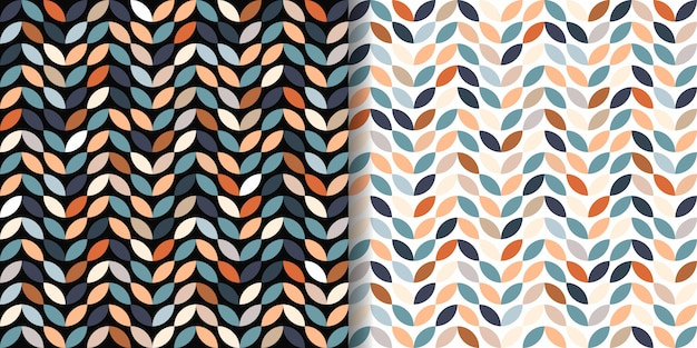 Retro seamless patterns set Premium Vector
