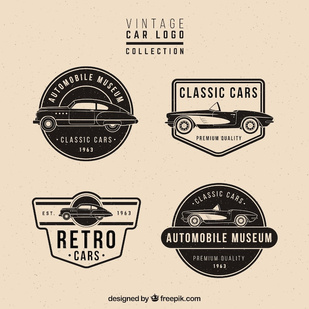 Retro set of four logos with cars Vector   Free Download