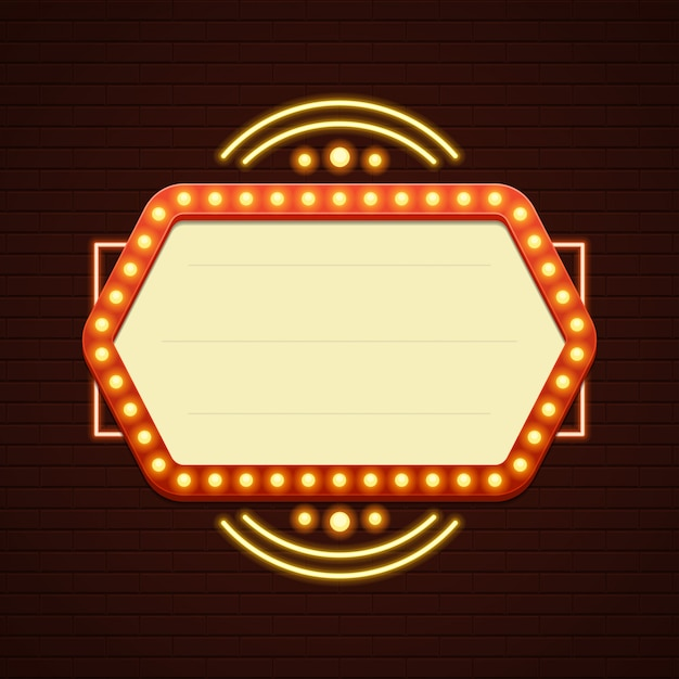 Retro showtime sign sale cinema signage light bulbs frame and neon lamps Premium Vector