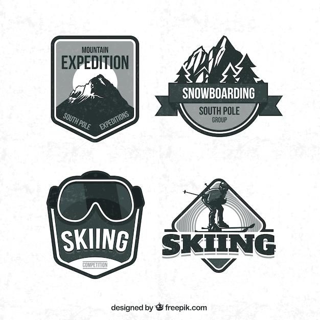 b6e0ee590ee5 Retro ski badges Free Vector