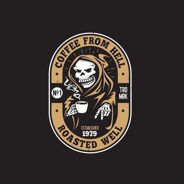 Ретро череп кофейня рука рисунок логотип Premium векторы
