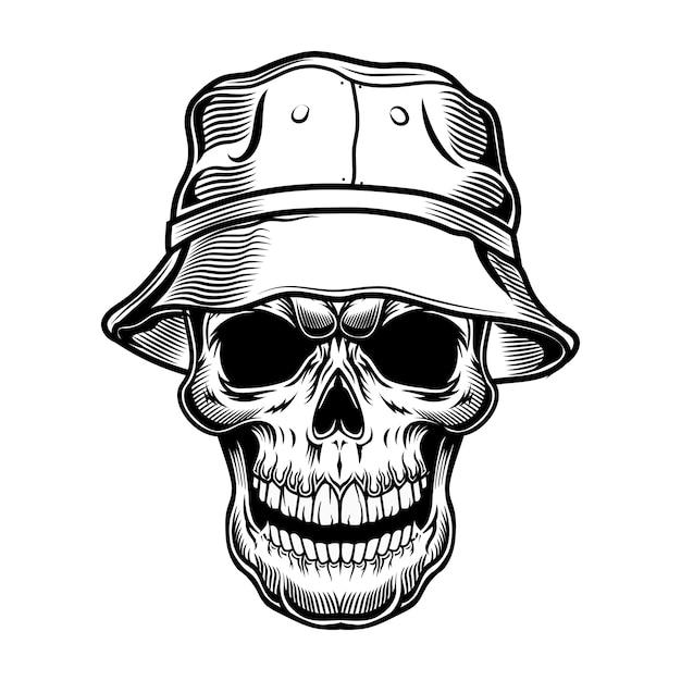 パナマのベクトル図のレトロな頭蓋骨。帽子をかぶった観光客の黒い死んだ頭。ハワイと熱帯の休暇の概念を使用することができます 無料ベクター