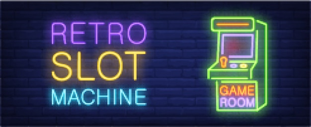 Retro slot machine neon style banner on brick background. arcade machine with lettering. Free Vector