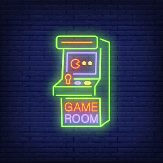 Retro slot machine with game room lettering on brick background. Free Vector