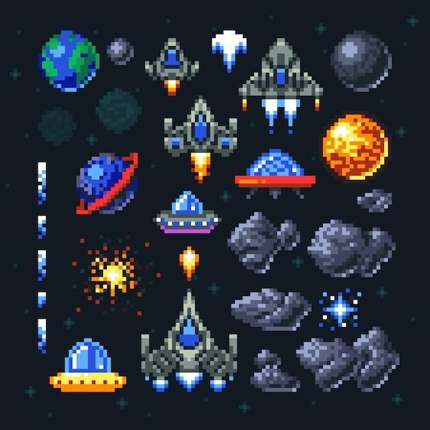 Retro space arcade game pixel elements. Premium Vector