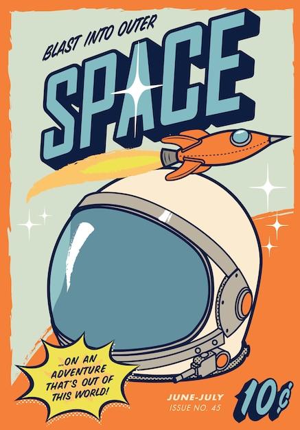 Retro space comic cover Premium Vector