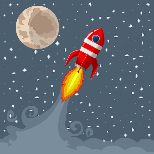 Retro space rocket lifts off. Premium Vector