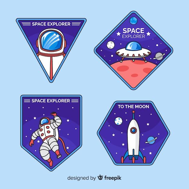 Набор ретро космических стикеров Бесплатные векторы