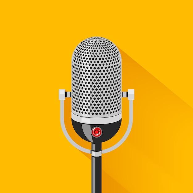 Ретро сцена микрофон иллюстрация Бесплатные векторы