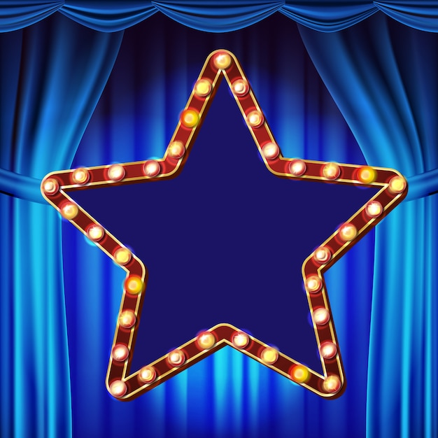 Retro star billboard vector. blue theater curtain. shining light sign board. realistic shine lamp frame. 3d electric glowing element. carnival, circus, casino style. illustration Premium Vector