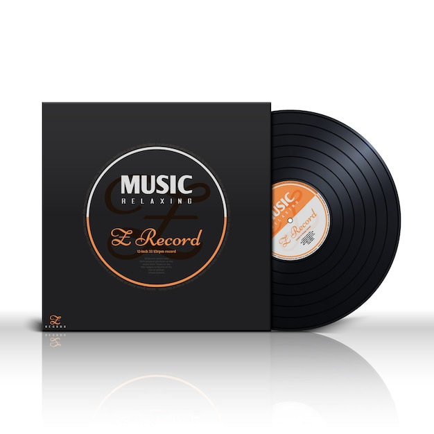 Retro stereo audio black vinyl disc Premium Vector