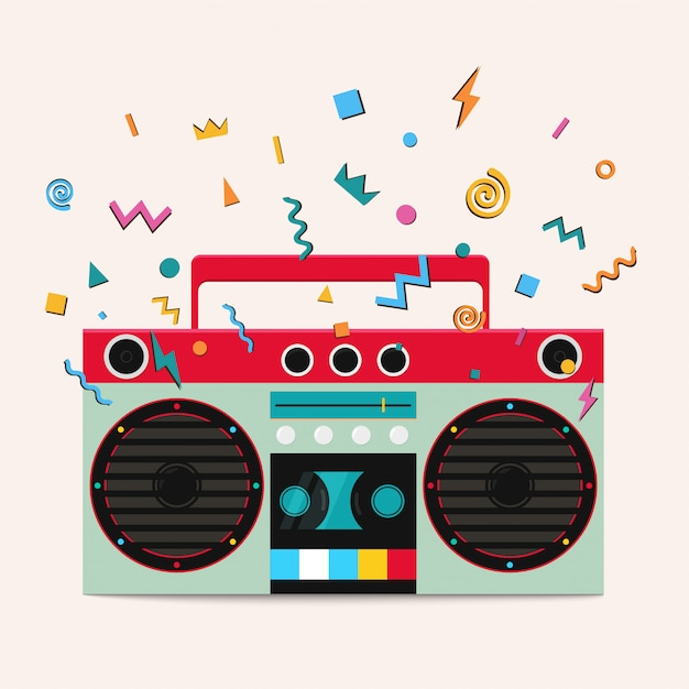 Retro stereo cassette player. Premium Vector
