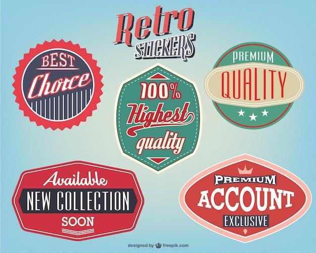 Retro stickers design free vector