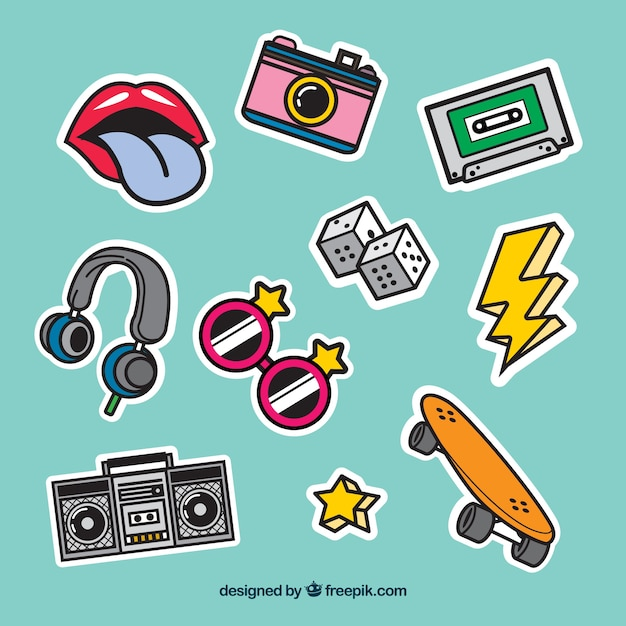 Retro stickers with pop art style Free Vector