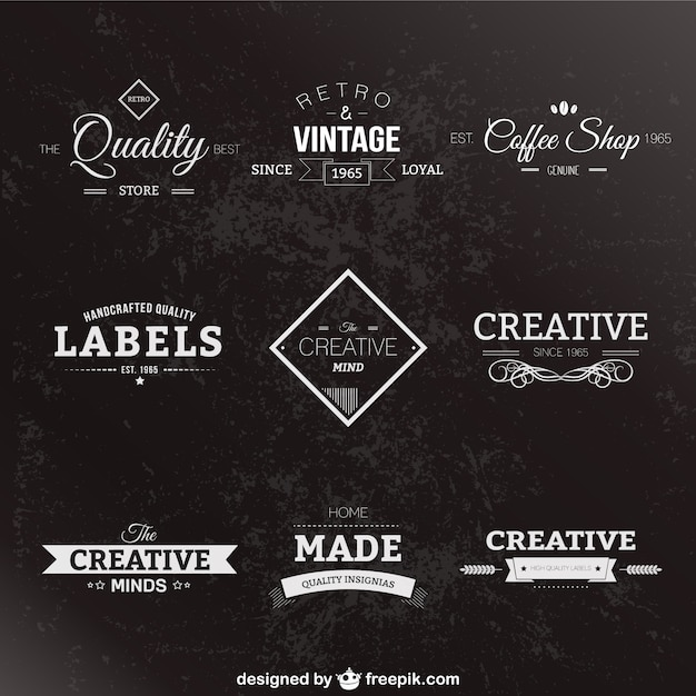 Retro style black and white labels Free Vector