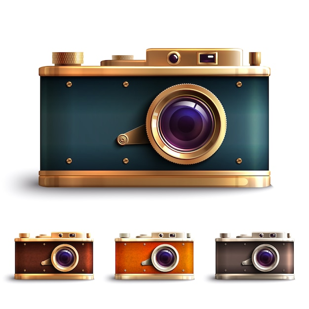 Retro style camera set Free Vector