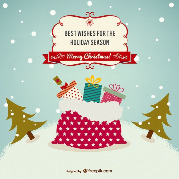 Retro style Christmas card Vector  Free Download