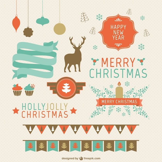 Retro style Christmas design elements