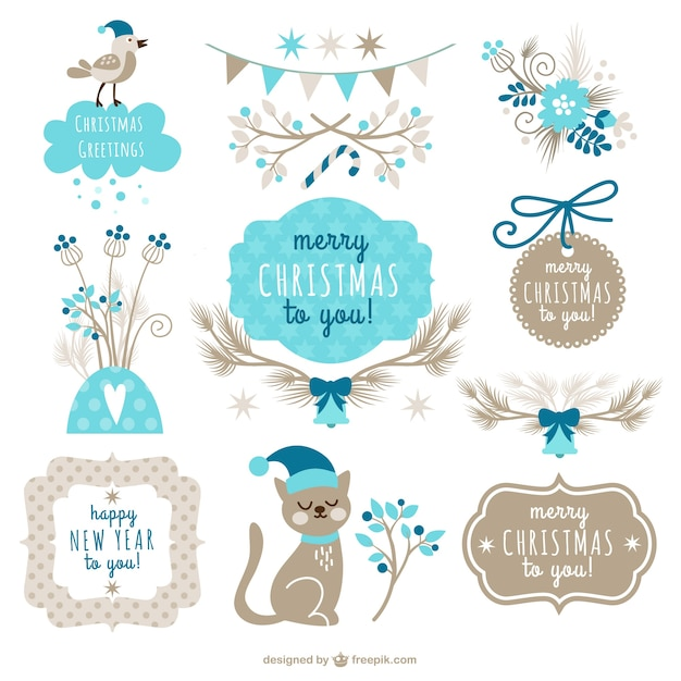 Retro style christmas labels Free Vector