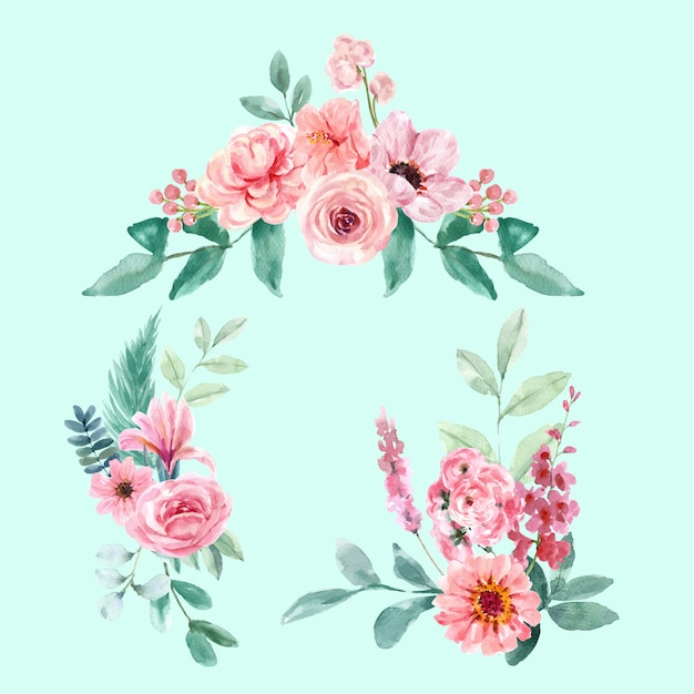 Retro style floral charming bouquet with vintage floral watercolor illustration. Free Vector