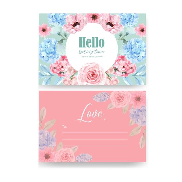 Cartolina affascinante floreale di retro stile con l'illustrazione floreale d'annata dell'acquerello. Vettore gratuito