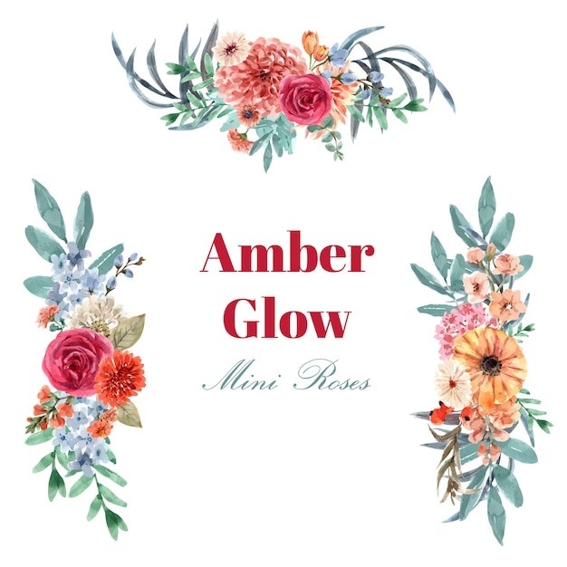 Retro style floral ember glow bouquet watercolor illustration. Free Vector