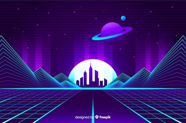 Retro style futuristic landscape background Free Vector