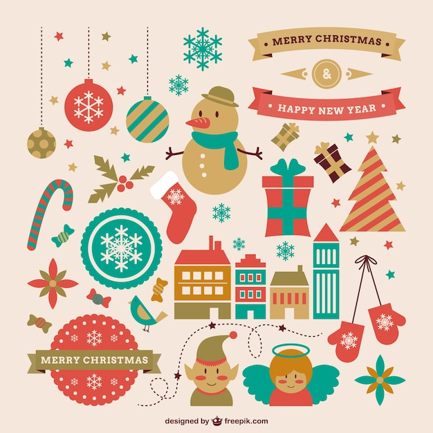 Retro style graphic resources for christmas Free Vector