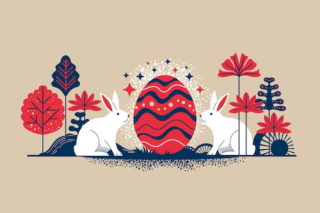 Retro style illustration happy easter greeting card with flowers eggs and rabbit elements Premium Vector