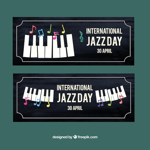 Retro style jazz piano banners Vector | Free Download