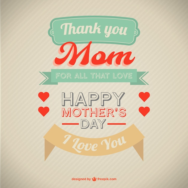 I Love You Mom Happy Mothers Day Flyer Template Psd Free: Retro Style Mother's Day Card Vector