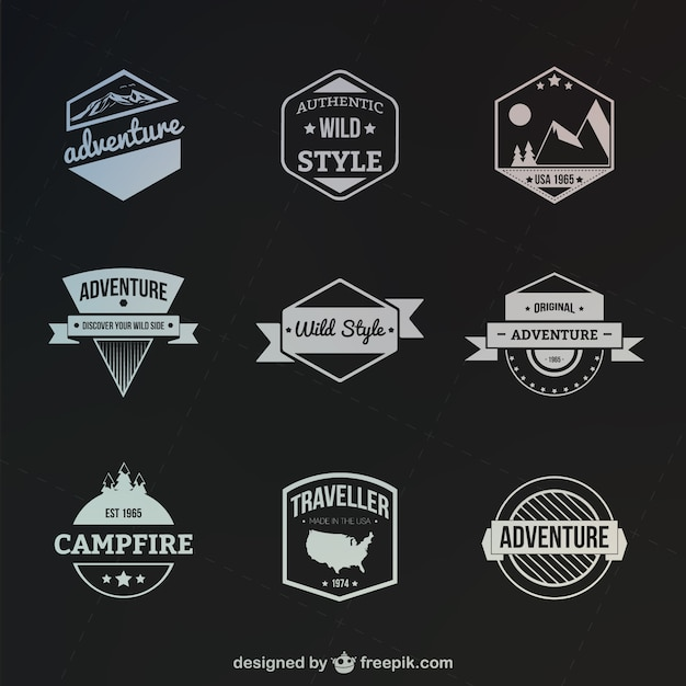 Retro style outdoor and adventure badges